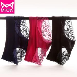 猫人miiow内裤女性感中腰贴身蕾丝女式无痕包臀三角裤三条装黑色/宝蓝/紫红均码49元