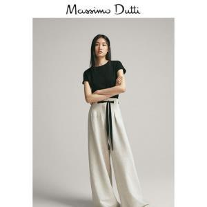 MassimoDutti06850901800-23女士经典款短袖T恤黑色S 150元