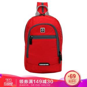 瑞世(SUISSEWIN)休闲运动男包多功能单肩胸包双肩旅行背包SNR007红色 34.5元