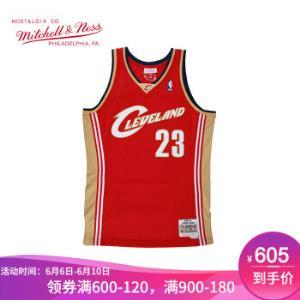Mitchell&Ness球迷版复古球衣骑士队詹姆斯元年客场篮球服网眼透气红色L560元
