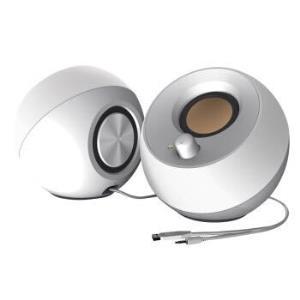 """创新(Creative)PEBBLE""""鹅卵石""""音箱2.0桌面音响笔记本电脑音箱双面震动音质饱满小而强大白色119元"""