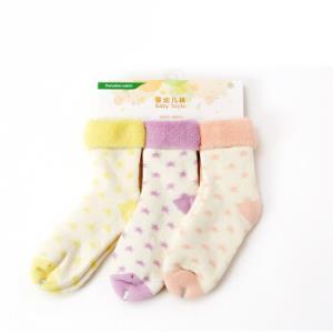 全棉时代婴幼儿星星内毛圈提花袜13cm(建议2-3岁)浅黄+丁香紫+浅粉3双/袋*5件 99.2元(合19.84元/件)