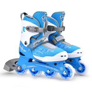 瑞士m-cro迈古儿童溜冰鞋男女可调码透气鞋面推荐款单排休闲轮滑鞋ZETA蓝色单鞋M码398元