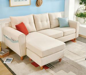 QuanU全友家居102289B可拆洗布艺沙发三人位+脚凳