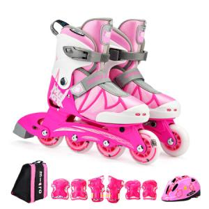 瑞士m-cro迈古儿童溜冰鞋男女可调码初学基础款单排休闲轮滑鞋MEGA粉色套餐S码408元
