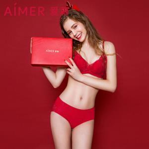 爱慕内衣花语莫代尔纯色性感蕾丝透明女士中腰三角裤女式内裤AM221921红色170/XL89元