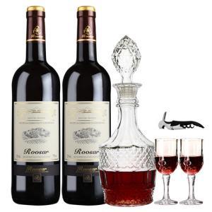 罗莎红酒送2个红酒杯法国进口干红葡萄酒罗莎田园2支*2件