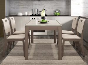 18日0点:日月鑫现代简约餐桌椅组合套装小户型餐厅家具钢化玻璃台面饭桌北欧餐桌 1500.00