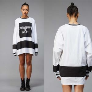 BoyLondon女士中长款T恤连衣裙黑色/白色*4件 796元(需用券,合199元/件)