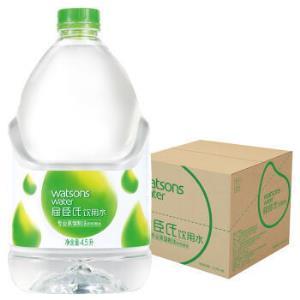 屈臣氏(Watsons)饮用水(蒸馏制法)百年水品牌旅行聚会必备家庭用水4.5L*4桶整箱装44元