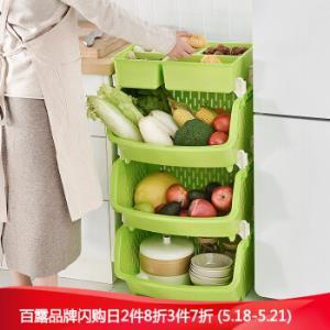 BELO百露厨房置物架储物架收纳架三层带储物盒*3件