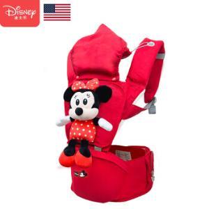 迪士尼(Disney)婴儿背带腰凳宝宝四季多功能通用单凳夏透气前抱式儿童坐凳米妮红