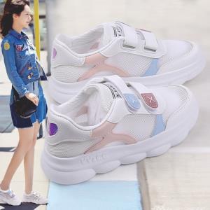 小白鞋女2019夏季新款韩版百搭魔术贴板鞋透气个性平底软底鞋子