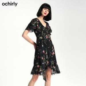 ochirly欧时力1GY1083850荷叶短袖连衣裙*2件 646.2元(合323.1元/件)