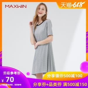 MAXWIN马威夏装新款女条纹短袖连衣裙显瘦宽松中长款针织裙子女夏69.2元
