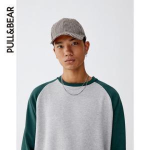 PULL&BEAR男士加厚撞色插肩袖运动衫卫衣0959550356元