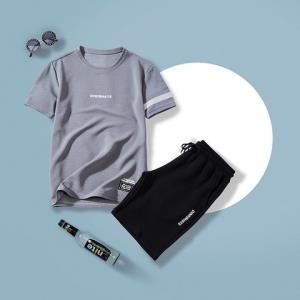 BAOXIANSHEN短袖短裤套装韩版修身潮流两件套休闲运动服一套衣服男装 49.9元