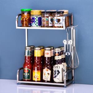 心家宜304不锈钢厨房置物架储物收纳架调料架厨房用品调味架二层30*15*41 31.2元