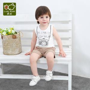 拉比2019夏季男童无袖背心婴儿背心打底衫趣味拉比圆领背心 *4件  145.6元(合36.4元/件)