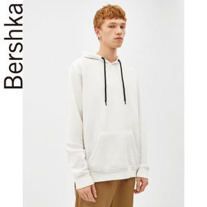 Bershka男士青春流行白色运动衫宽松休闲连帽卫衣0206349825059元