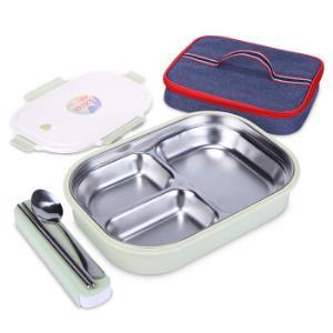 美厨(maxcook)304不锈钢饭盒加大加深3格学生饭盒便当盒带分隔配餐具保温袋MCFT665*3件138.39元(合46.13元/件)