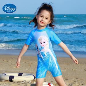 迪士尼(DISNEY)儿童泳衣女迪士尼冰雪奇缘系列女童连体泳装冲浪服SPF10010B蓝色110 54元