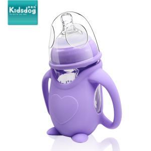乖乖狗 企鹅型玻璃宽口径防摔奶瓶 240ml 感温紫色  券后19.9元