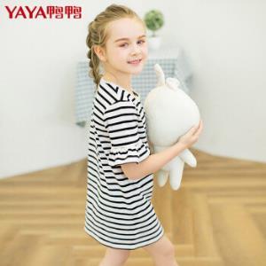 鸭鸭童装女童短袖纯棉连衣裙条纹针织荷叶边Q-G37030529元包邮
