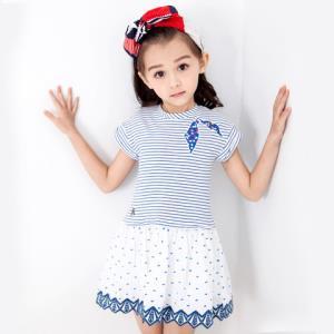 HushPuppies暇步士童装新款女童时尚条纹连衣裙针织半袖裙儿童连衣裙儿童裙子119元