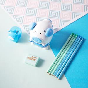 deli得力猪年纪念款小学生文具套装9件套蓝色 13.25元