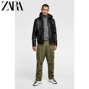 ZARA新款男装迷彩拼接连帽款皮革质感夹克外套08281474800 139元