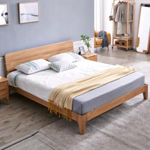 家逸实木床1.8米双人床板式床北欧现代简约卧室家具白橡木床 1590元