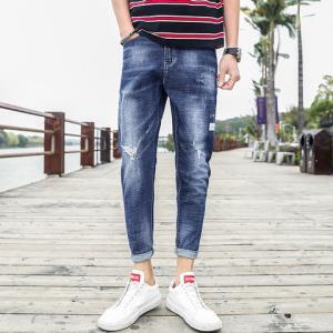 豹先森男士休闲牛仔裤子潮牌夏季新款学生修身显瘦百搭破洞九分小脚长裤 99元