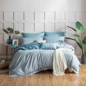 罗莱家纺LUOLAI全棉亲肤四件套纯棉床单被套时尚简约蓝梦城市1.5米床200*230cm 289元