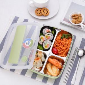 学生饭盒304不锈钢带盖日式便当盒北欧绿4格餐具1-2L49元