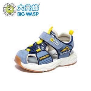 大黄蜂男宝宝学步鞋婴儿凉鞋2019新款1-3岁小童包头软底男童凉鞋_牛仔蓝,23码/14.8cm内长79元