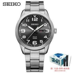 精工(SEIKO)男表日本原装进口太阳能黑盘商务夜光腕表SNE471J1(海洋礼盒款-赠表带)1258元