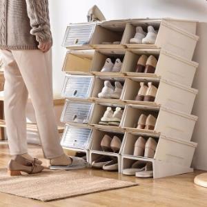 百露加厚放鞋子的收纳盒抽屉式透明鞋盒组合鞋收纳箱鞋盒子塑料整理箱10个装*3件 297元(合99元/件)
