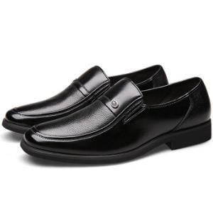 卡帝乐鳄鱼英伦套脚商务正装头层牛皮男士潮流低帮中老年爸爸皮鞋1053黑色41*4件532元(合133元/件)