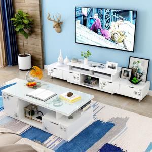 电视柜茶几组合简约现代小户型钢化玻璃客厅伸缩北欧简易电视机柜85元
