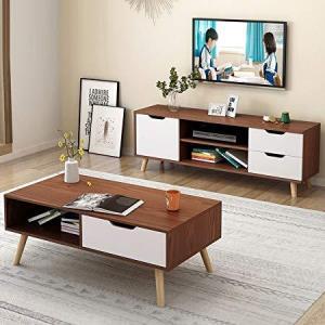 DCLife实木脚电视柜茶几组合小户型桌子(电视柜+茶几组合)389元