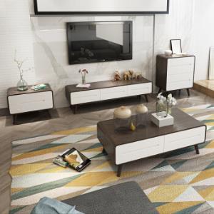 北欧日式双色茶几电视柜组合套装客厅家具茶几小边桌胡桃色茶几780元包邮