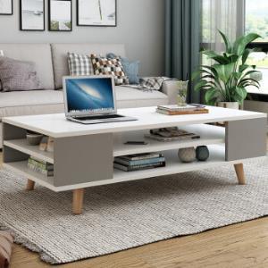 初暖北欧茶几电视柜组合简易茶几双层小户型可定制无油漆款实木木工板客厅家具暖白色1米