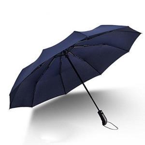 Yom莜牧10骨全自动折叠防风男女晴雨三折伞双人加大雨伞20001(藏青色)35元