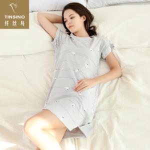 纤丝鸟夏季女士短袖睡裙女生薄款圆领家居服女可外穿短袖裙电线小鸟-银灰L 34元(需用券)
