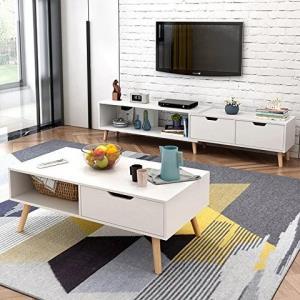 DCLife电视柜茶几组合北欧小户型地柜迷你家具伸缩电视机柜(暖白色(电视柜+茶几组合))529元