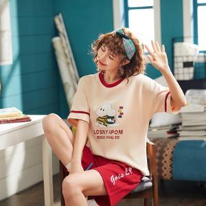 睡衣女纯棉夏季薄款韩版短袖可爱可外穿宽松女士全棉家居服套装 券后38.9元