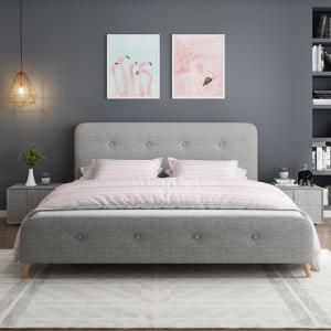 酣美床布床双人床实木床北欧布艺床1.5m1.8米软包简约现代结婚房可定制 1579元