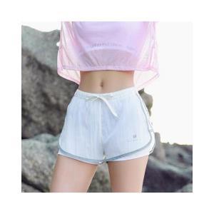 暴走的萝莉拼纱运动短裤女收腰含内衬速干透气训练跑步健身热裤 51.33元