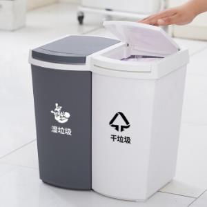 妙然日式双层干湿分离分类垃圾桶大容量带盖按压家用厨房垃圾桶23L 49元